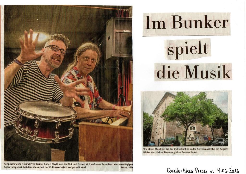 Im Bunker spielt die Musik - Neue Presse v. 04.06.2016 - S. 1
