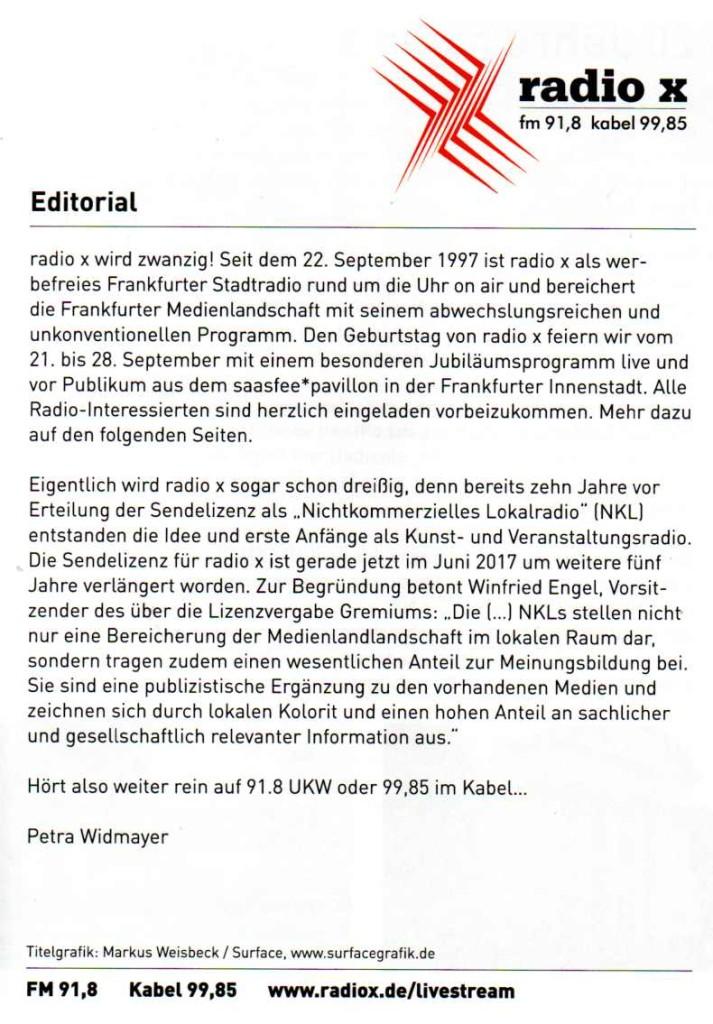 20 Jahre radio x - Editorial - 1